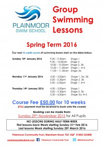 Groups Spring Term 2016 Lesson Times